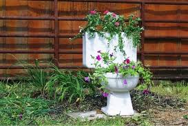 toilet with flowers